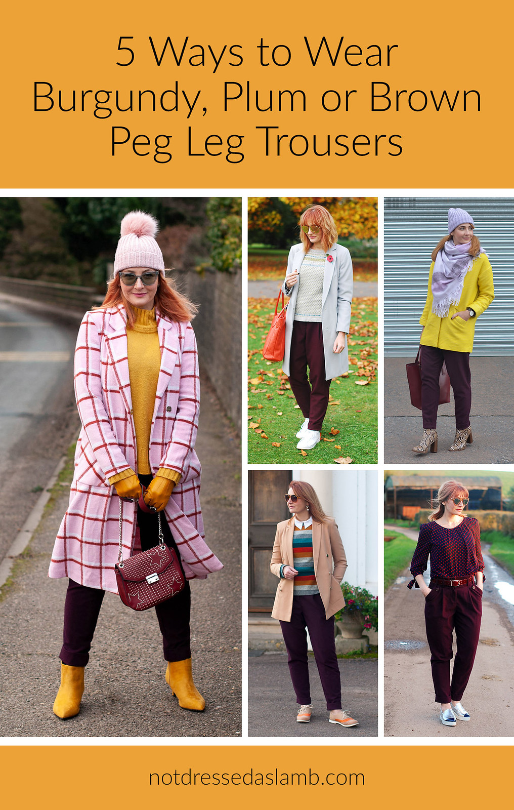 5 Ways To Wear Burgundy, Plum or Brown Peg Leg Trousers | Not Dressed As Lamb, Over 40 Fashion & Style