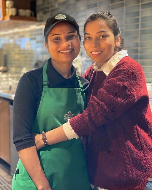 In Uniform, in Casuals (she just arrived!)... a Morning Shift Portrait of Coffeeshop Baristas Jyoti Rawat and Seema