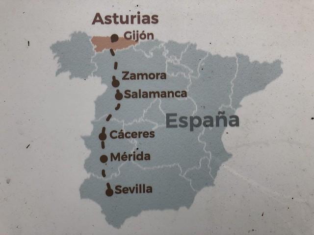 Mapa de la ruta de la Vía de la Plata