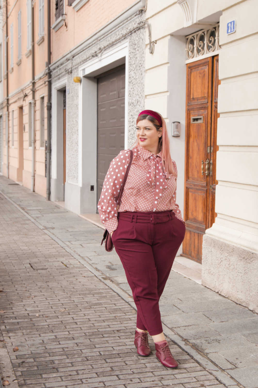Oufit rosa e borgogna (2)