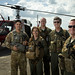 From right, test pilots Maj. Zach Roycroft and Tony Arrington, of the 413th Flight Test Squadron, and their flight crew pose in front of a UH-1N helicopter on the Duke Field flightline near Eglin Air Force Base, Fla., after a test flight, Sep. 16, 2019. The squadron received its first MH-139 helicopters, which will replace the UH-1N, for flight test in Dec. 2019. (Photo by J.M. Eddins Jr.)