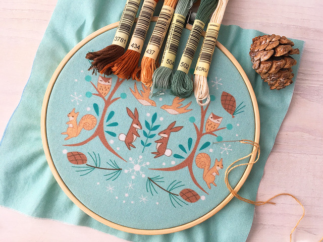 Winter embroidery sampler