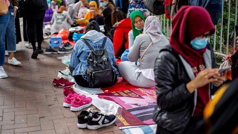 香港家務工人因政府呼籲面臨無法休假的問題。(圖片來源:Jeremy Smart/Al Jazeera)