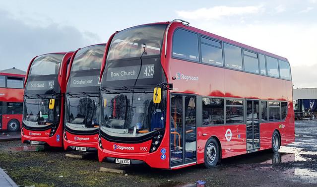 Stagecoach London Alexander Dennis Enviro 400 MMCs 11350 , 11349 , 11348