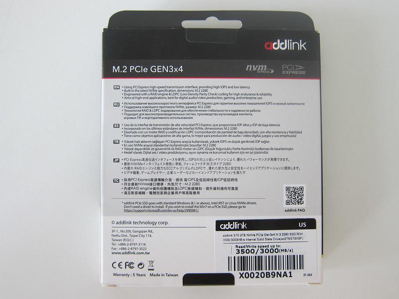 addlink S70 2TB NVMe M.2 SSD - Box Back