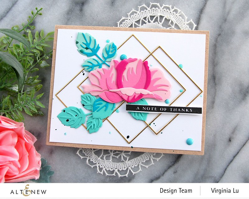 Altenew-Fine Frames Square Die Set-Open Bloom 3D Die Set-Virginia#3