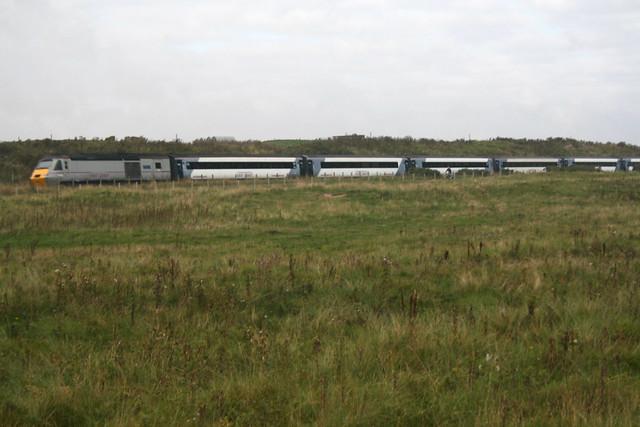 East Coast train along the coast near Carnoustie