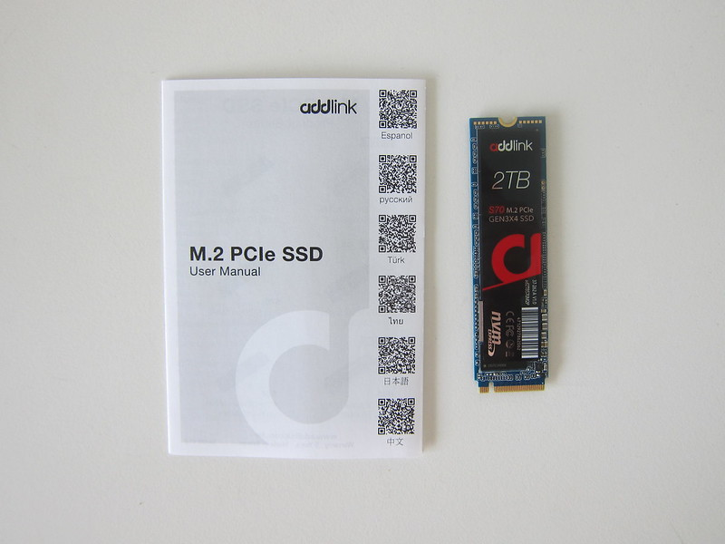 addlink S70 2TB NVMe M.2 SSD - Box Contents