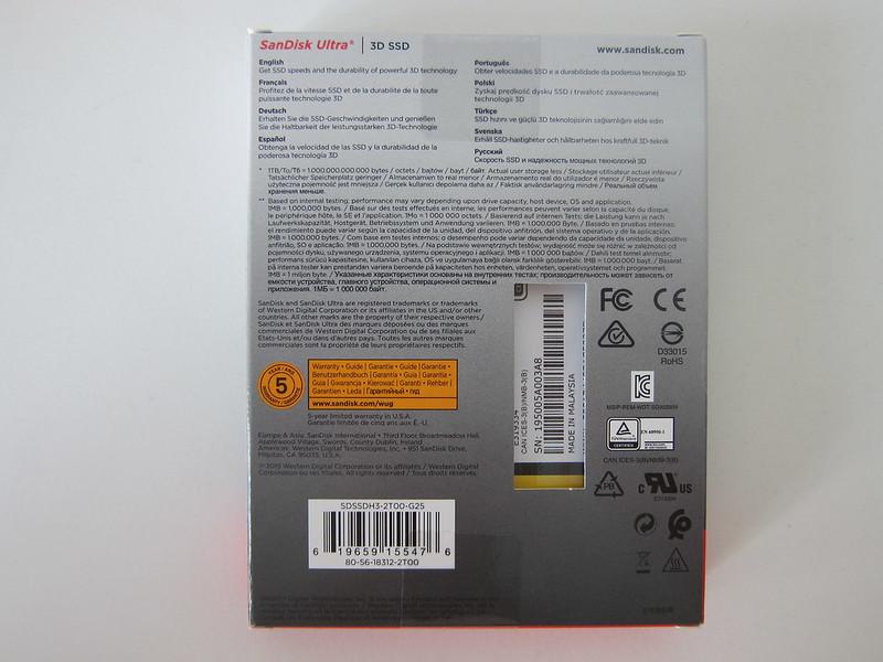 SanDisk Ultra 3D 2TB SSD - Box Back