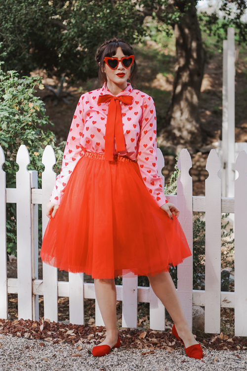 SHEIN pink heart button down top red tulle skirt