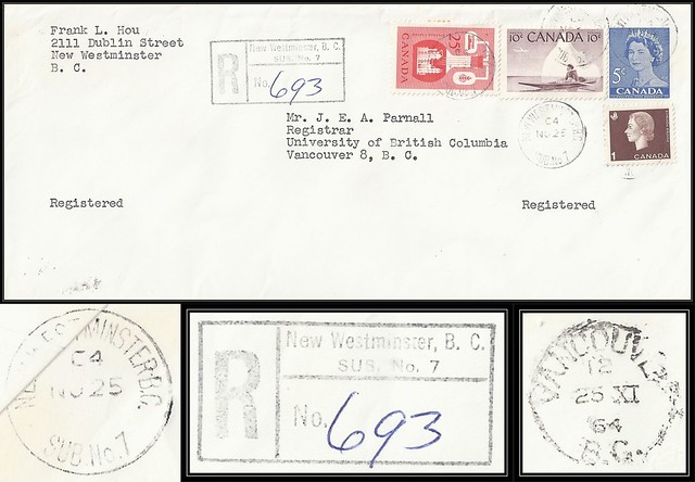 British Columbia / B.C. Postal History / Registered Letter - 25 November 1964 - NEW WESTMINSTER SUB POST OFFICE No. 7, B.C. to Vancouver, B.C.