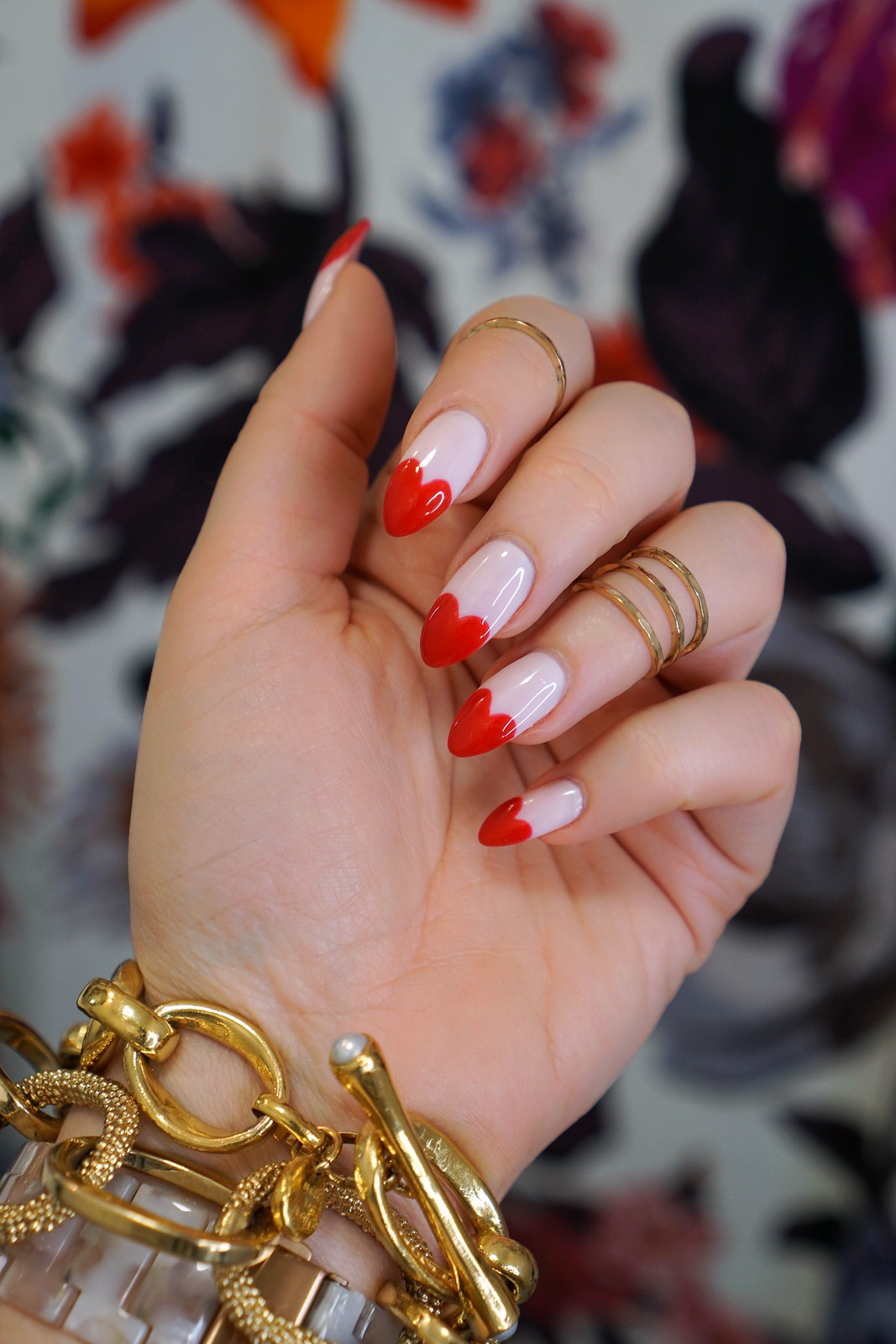 Heart Nails | Heart Manicure | Pink Red Nail Art | Valentines Day Nail Inspiration | Galentines Day Nail Art | Nail Ideas | Nail Designs | UV Nails | Hard Gel Manicure