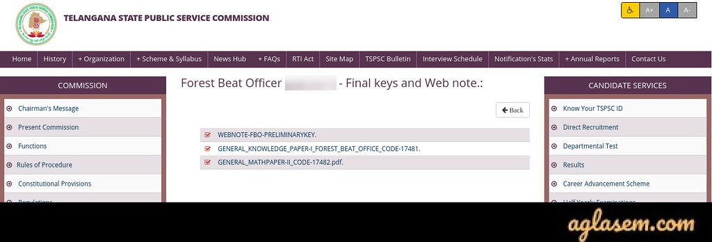 TSPSC Forest Beat Officer Answer Key 2020