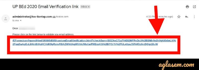 UP B.Ed 2021 email verification