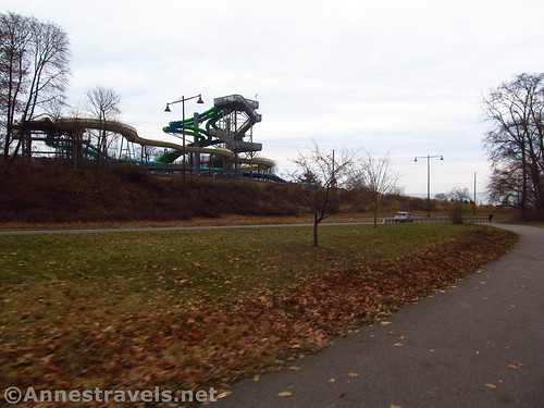 The water slides of Seabreeze from the Irondequoit Lakeside Trail, Rochester, New York