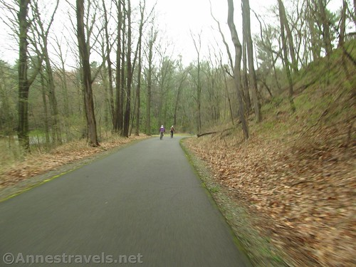 Descending the hill on the Irondequoit Lakeside Trail, Rochester, New York