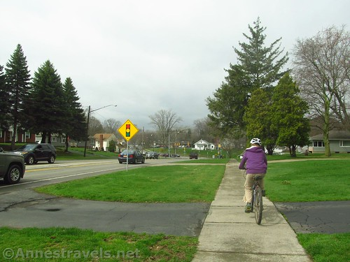 Riding down toward the St. Paul intersection on the Irondequoit Lakeside Trail, Rochester, New York