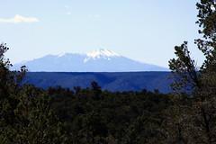 Humphreys Peak (near Flagstaff, Arizona) Viewed from Tusayan Ruins (aboout 55 miles away)- Grand Canyon National Park, Northern Arizona