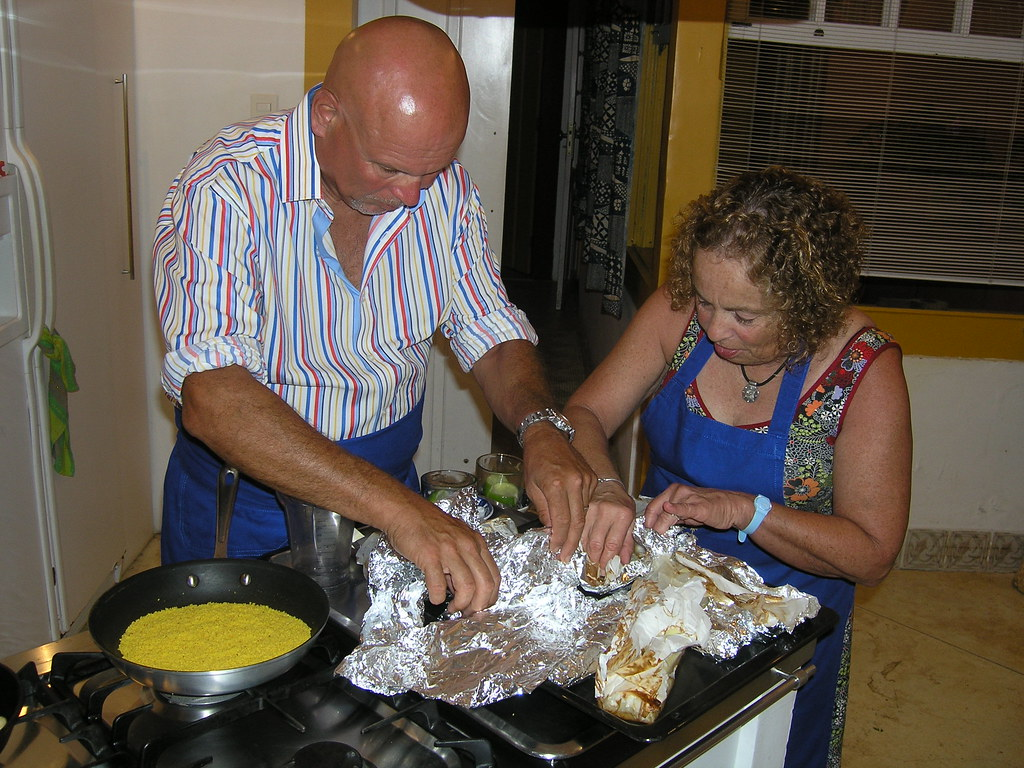 Grant & Deb help with the meal preparation