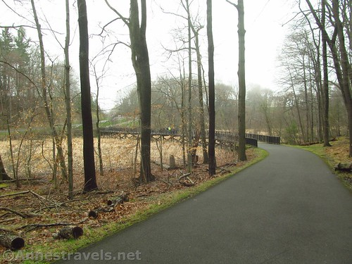 The Irondequoit Lakeside Trail at the bottom of the hill in Durand Eastman Park, Rochester, New York