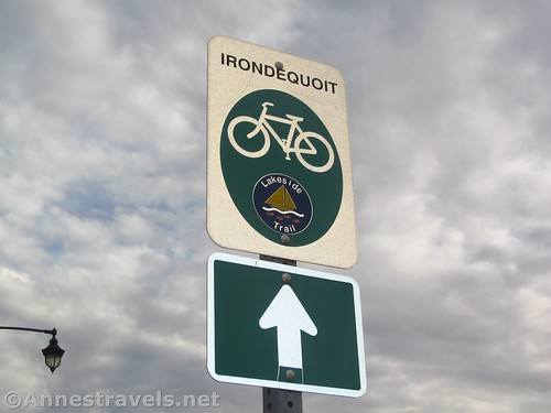 Sign marking the Irondequoit Lakeside Multi-use Trail, Rochester, New York