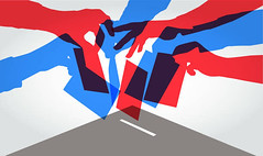 Red and Blue Hands vote with ballots