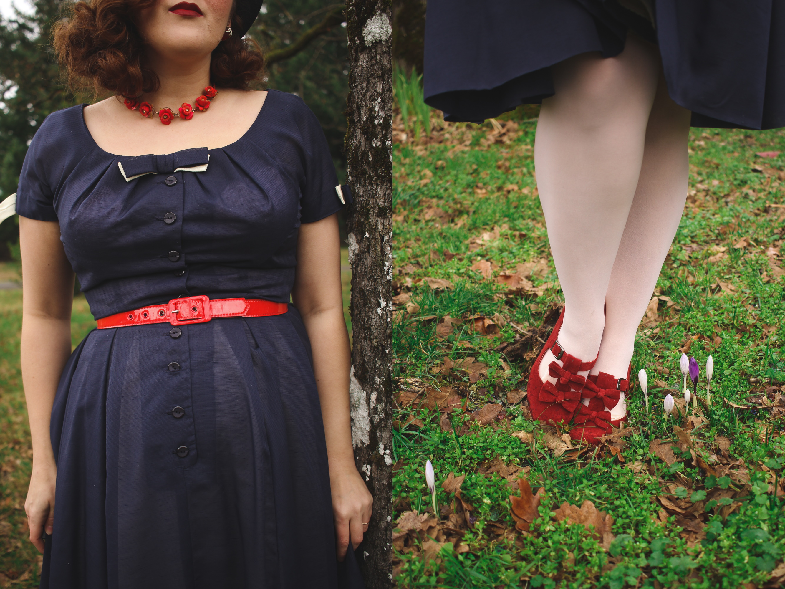 Details of a vintage navy dress and red bow heels
