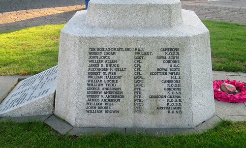 Lauder War Memorial, Names for Great War