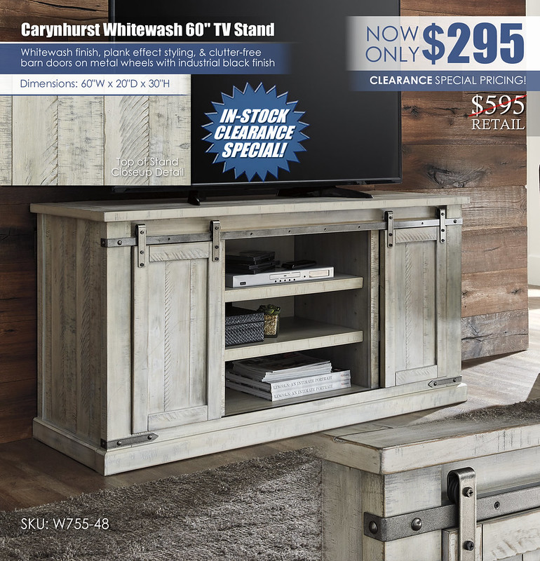Carynhurst Whitewash 60in TV Stand_Clearance_W755-48
