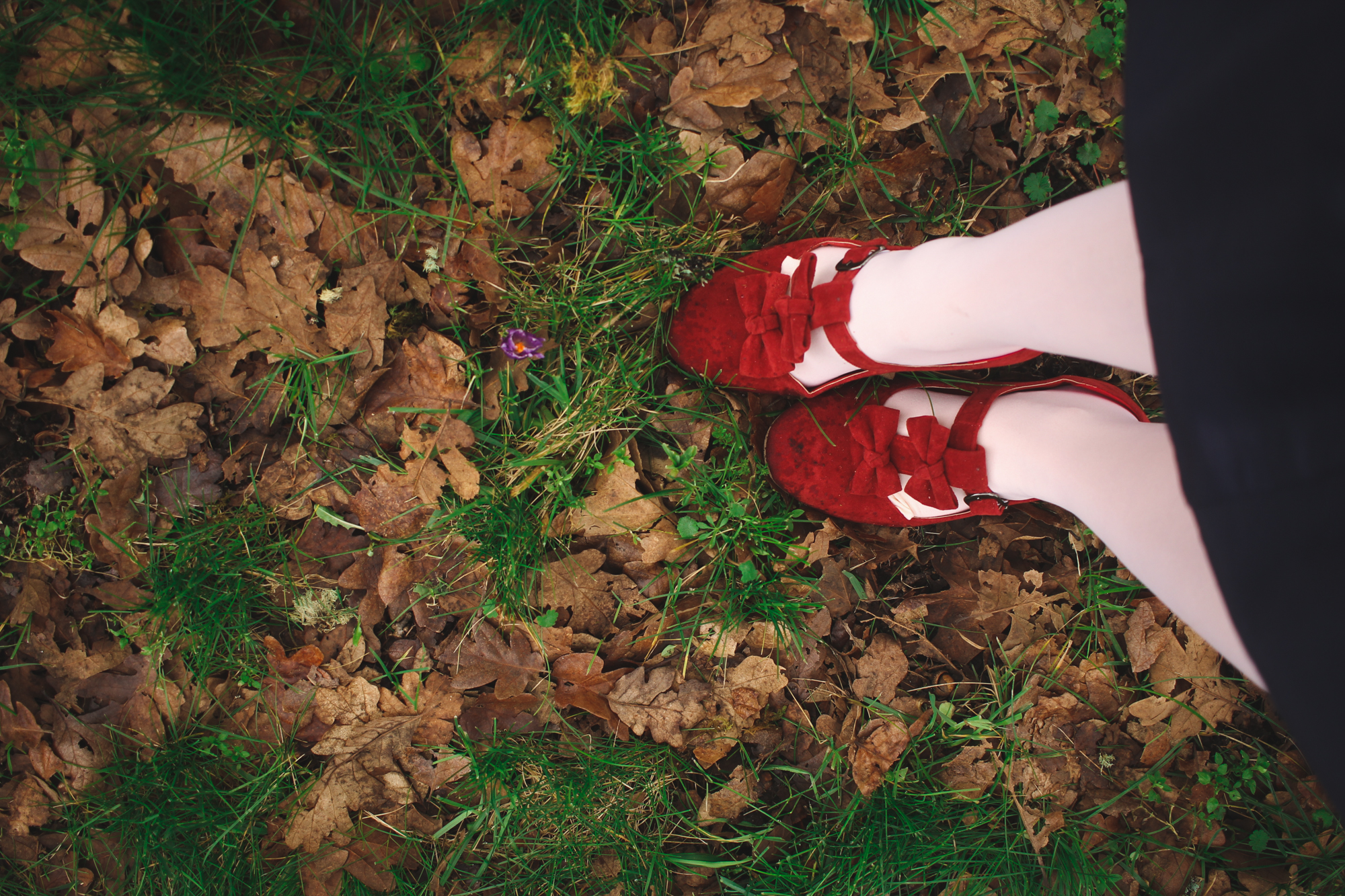 Red lolita style shoes and pastel pink tights
