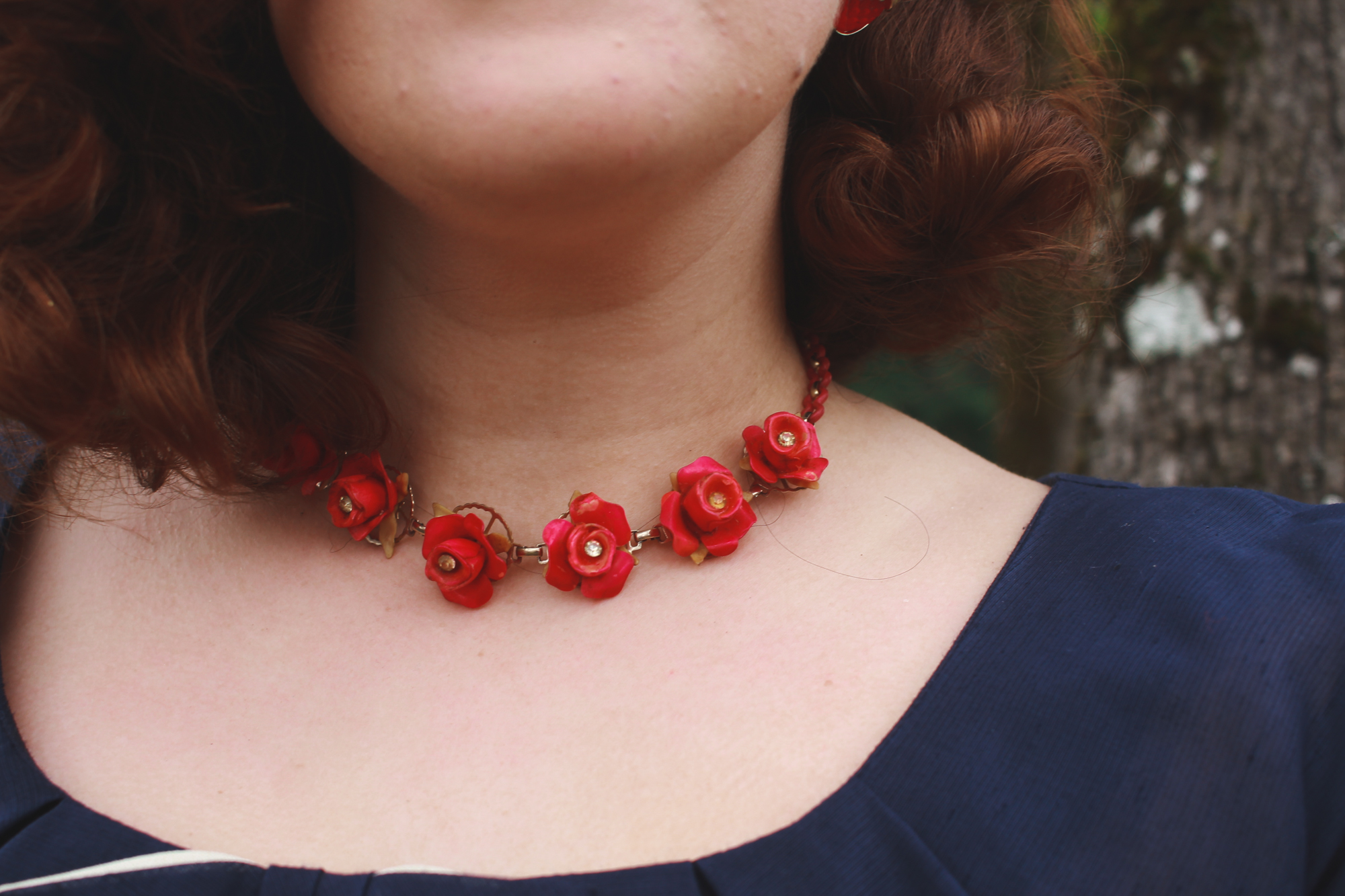 1930's celluloid rose necklace