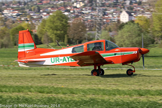 UR-AYL - 1972 build American Aviation AA-5 Traveler, making an unauthorised arrival into Markdorf during Aero 2018 at nearby Friedrichshafen
