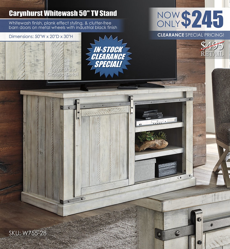 Carynhurst 50in Whitewash TV Stand_Clearance_W755-28