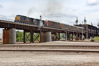 CSX C40-8W 7302 (ex-CR 6054) and HLCX SD40-2 6230 (ex-UP 3365) bring a train over part of Santa Fe Jct., Kansas City on June 2, 2012.  (3 of 4 photos)