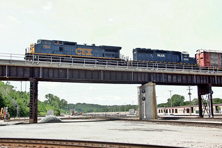 CSX C40-8W 7302 (ex-CR 6054) and HLCX SD40-2 6230 (ex-UP 3365) bring a train over part of Santa Fe Jct., Kansas City on June 2, 2012.  (4 of 4 photos)