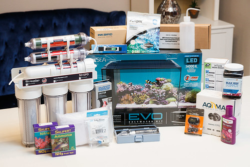 parts and supplies to startup a Fluval EVO 13.5 saltwater nano aquarium