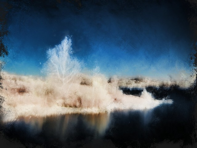 Inks Lake, Twighlight Reflections. Impression.