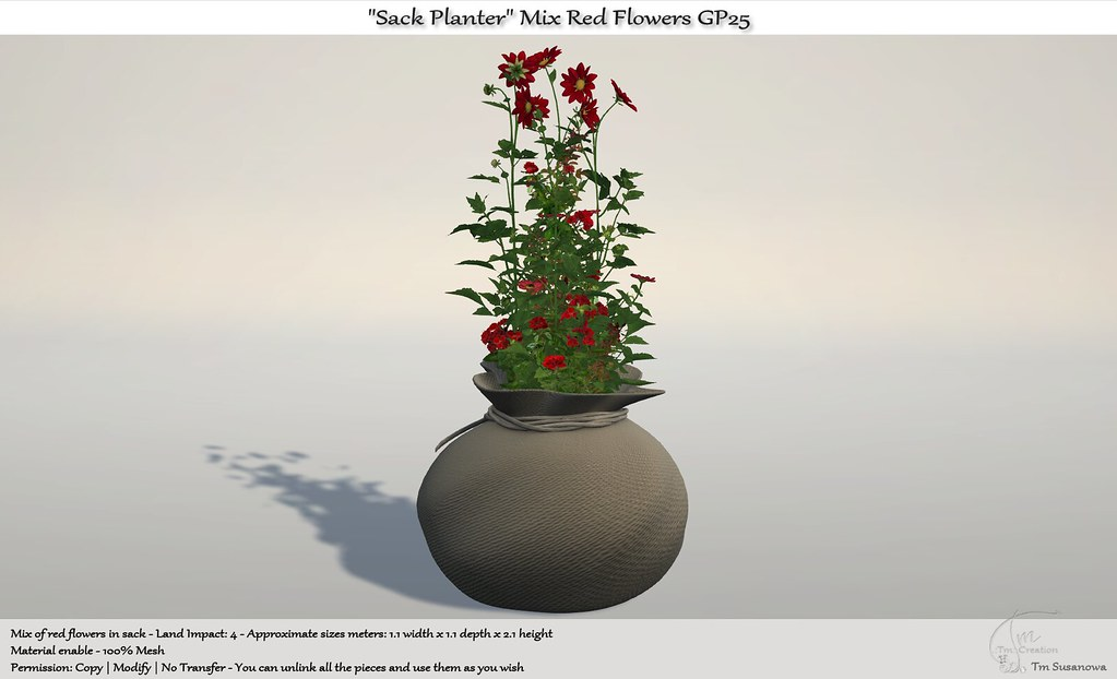 ".:Tm:.Creation ""Sack Planter"" Mix Red Flowers GP25"
