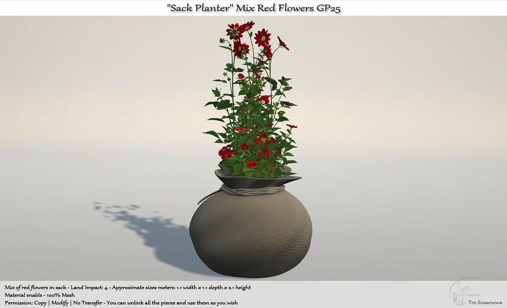 ".:Tm:.Creation ""Sack Planter"" Mix Red Flowers GP25"