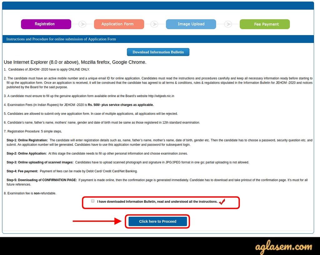 WBJEE JEHOM Application Form