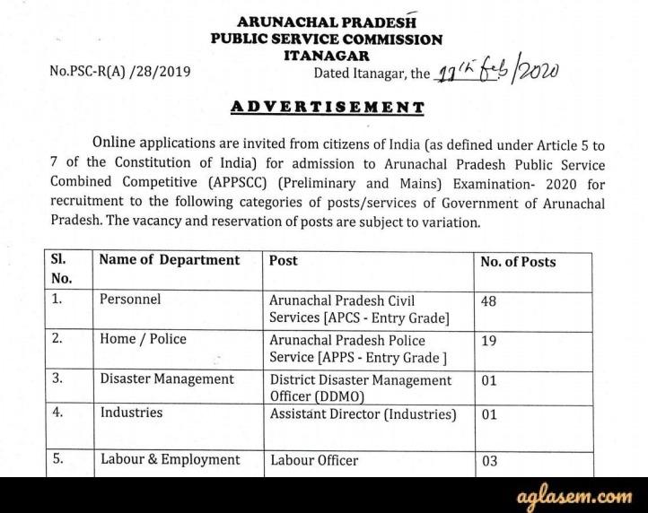 APPSC Arunachal Pradesh Civil Service Exam 2020 Advertisement