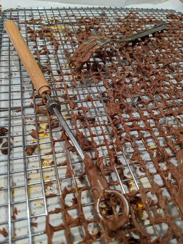 Wire Baking Rack covered in chocolate