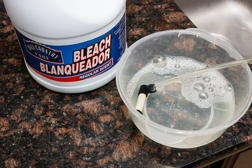 cleaning a ceramic CO2 diffuser using bleach.