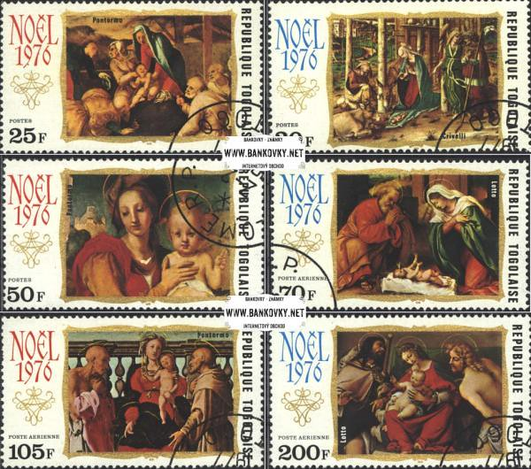Známky Togo 1976 Maľby Vianoce, razítkovaná séria