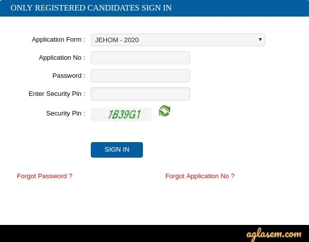 WBJEEB JEHOM 2020 Admit Card login