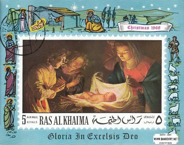 Známky Ras Al Khaimah 1968 Vianoce, razítkovaný aršík