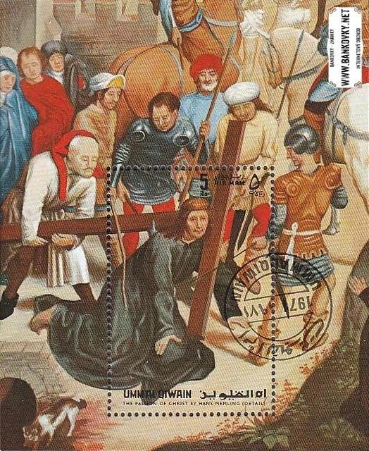 Známky Umm al Qaiwain 1972 Veľká noc razítkovaný aršík