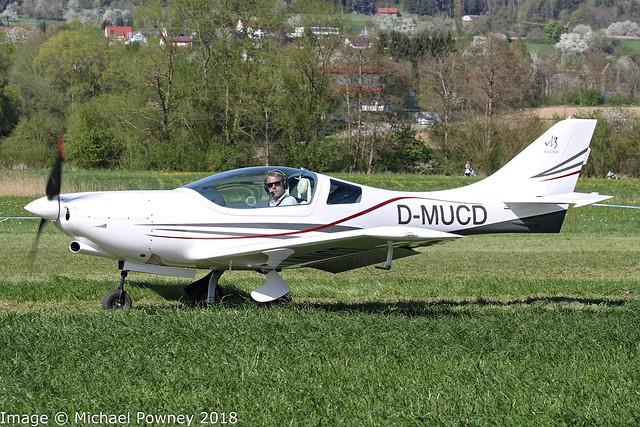 D-MUCD - 2018 build JMB Aircraft VL-3 Evolution, taxiing for departure at Markdorf during Aero 2018 at nearby Friedrichshafen