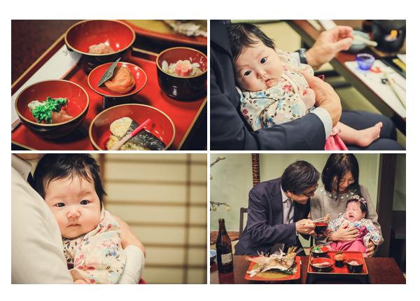 お食い初め 100日祝い 名古屋市の料理店 箸役はおじいちゃま、おばあちゃま