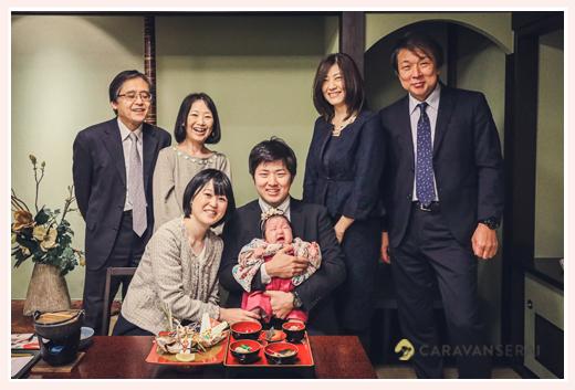 お食い初め(100日祝い) 家族・親族で集合写真 愛知県名古屋市